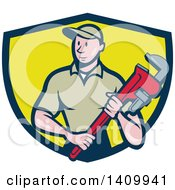 Clipart Of A Retro Cartoon White Male Plumber Holding A Monkey Wrench In A Blue And Yellow Shield Royalty Free Vector Illustration