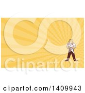 Clipart Of A Cartoon Refrigeration And Air Conditioning Mechanic Or Plumber Cheetah Holding A Pressure Temperature Gauge And Monkey Wrench And Yellow Rays Background Or Business Card Design Royalty Free Illustration