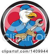 Retro Cartoon Bald Eagle Mechanic Man Holding A Spanner Wrench In A Black White And Red Circle