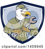 Retro Cartoon Bald Eagle Mechanic Man Holding A Spanner Wrench In A Blue And White Shield