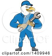 Retro Cartoon Bald Eagle Mechanic Man Holding A Spanner Wrench