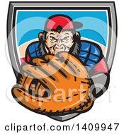 Clipart Of A Tough Chimpanzee Monkey Baseball Player Catcher Holding Out A Glove Emerging From A Shield Royalty Free Vector Illustration by patrimonio