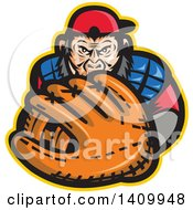 Clipart Of A Tough Chimpanzee Monkey Baseball Player Catcher Holding Out A Glove Royalty Free Vector Illustration