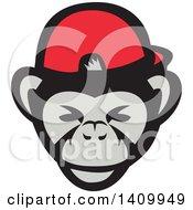Poster, Art Print Of Chimpanzee Baseball Player Wearing Cap Backwards