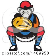 Clipart Of A Tough Chimpanzee Monkey Baseball Player Catcher Crouching Royalty Free Vector Illustration by patrimonio