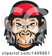 Poster, Art Print Of Mad Chimpanzee Baseball Player Wearing Cap Backwards