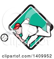 Clipart Of A Retro Cartoon White Male Baseball Player Pitching Emerging From A Turquoise White And Black Diamond Royalty Free Vector Illustration