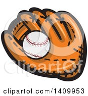 Clipart Of A Cartoon Baseball In A Glove Royalty Free Vector Illustration