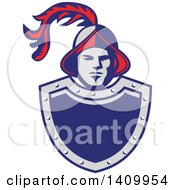 Clipart Of A Retro Spanish Conquistador Head With A Plume Over A Gray And Blue Shield Royalty Free Vector Illustration