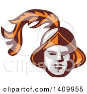 Clipart Of A Retro Spanish Conquistador Head With A Plume Royalty Free Vector Illustration