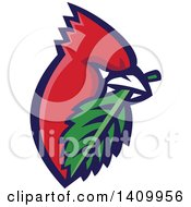 Clipart Of A Retro Cartoon Red Cardinal Bird With A Leaf In His Mouth Royalty Free Vector Illustration