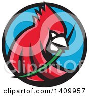 Clipart Of A Retro Cartoon Red Cardinal Bird With A Blade Of Grass In His Mouth Royalty Free Vector Illustration by patrimonio