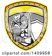 Retro Knight In Full Armor Holding Sword And Shield Inside A Shield