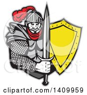 Retro Knight In Full Armor Holding Sword And Shield