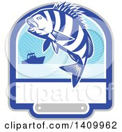 Clipart Of A Retro Jumping Sheepshead Fish Over A Silhouetted Boat And Text Space Royalty Free Vector Illustration