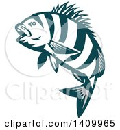 Clipart Of A Retro Teal And White Jumping Sheepshead Fish Royalty Free Vector Illustration