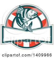 Clipart Of A Retro Jumping Sheepshead Fish Over A Life Buoy And Text Space Royalty Free Vector Illustration