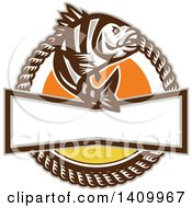 Clipart Of A Retro Sheepshead Fish Over A Sunset In A Frame Of Rope Royalty Free Vector Illustration