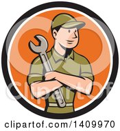 Retro Cartoon White Handy Man Or Mechanic Holding A Spanner Wrench In Folded Arms In A Black White And Orange Circle