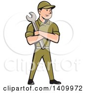 Retro Cartoon White Handy Man Or Mechanic Standing And Holding A Spanner Wrench In Folded Arms