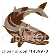 Clipart Of A Retro Brown Diving Cobia Fish Royalty Free Vector Illustration