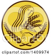 Clipart Of A Greek Goddess Demeter Holding Grains In A Brown And White Circle Royalty Free Vector Illustration