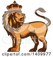 Clipart Of A Retro Crowned King Lion Royalty Free Vector Illustration