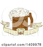 Clipart Of A Retro Sketched Medieval Wooden Beer Mug With Froth Over A Ribbon Banner Royalty Free Vector Illustration