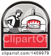 Clipart Of A Retro Pizza Chef Holding A Peel With A Pie In Front Of A Wood Fired Oven In A Black Gray White And Red Crest Royalty Free Vector Illustration by patrimonio