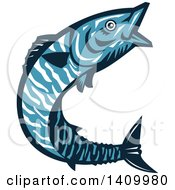 Clipart Of A Retro Blue Jumping Wahoo Fish Royalty Free Vector Illustration