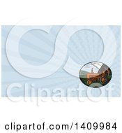 Retro Woodcut Tractor And Farm Land And Blue Rays Background Or Business Card Design