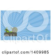 Clipart Of A Retro Green Man Working Out On A Rowing Machine And Blue Rays Background Or Business Card Design Royalty Free Illustration
