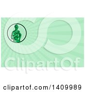 Retro Green Toy Construction Worker Holding A Nail Gun In A Circle And Green Rays Background Or Business Card Design