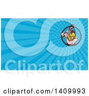 Clipart Of A Cartoon Gladiator Lacrosse Player Wearing Spartan Helmet And Striking And Blue Rays Background Or Business Card Design Royalty Free Illustration by patrimonio