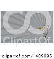 Clipart Of A Retro Donkey Standing Upright And About To Take A Bite Out Of A Cheeseburger And Gray Rays Background Or Business Card Design Royalty Free Illustration by patrimonio