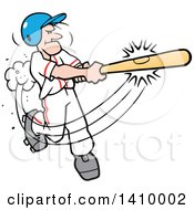 Clipart Of A Cartoon Caucasian Male Baseball Player Hitting A Home Run Symbolizing Its A Hit Royalty Free Vector Illustration by Johnny Sajem