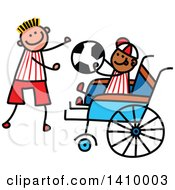 Doodled Disabled Boy And Friend Playing Soccer
