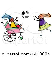 Clipart Of A Doodled Disabled Girl And Friend Playing Soccer Royalty Free Vector Illustration