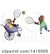 Doodled Disabled Boy And Friend Playing Tennis