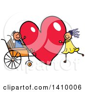 Clipart Of A Doodled Disabled Boy And Girl With A Love Heart Royalty Free Vector Illustration
