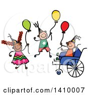 Clipart Of A Doodled Disabled Boy And Friends At A Party Royalty Free Vector Illustration
