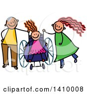 Clipart Of A Doodled Disabled Girl And Parents Royalty Free Vector Illustration