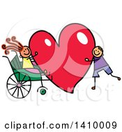 Clipart Of A Doodled Disabled Girl And Boy With A Love Heart Royalty Free Vector Illustration