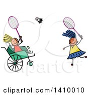 Doodled Disabled Child And Friend Playing Badminton
