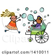 Clipart Of A Doodled Disabled Boy And Girl Playing And Blowing Bubbles Royalty Free Vector Illustration by Prawny