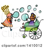 Clipart Of A Doodled Disabled Boy And Girl Playing And Blowing Bubbles Royalty Free Vector Illustration