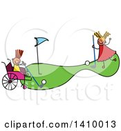 Clipart Of A Doodled Disabled Girl And Friend Playing Golf Royalty Free Vector Illustration