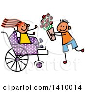 Clipart Of A Doodled Disabled Girl Receiving Flowers From A Boy Royalty Free Vector Illustration