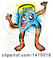 Clipart Of A Coliorful Doodled Monster With Splatters On A White Background Royalty Free Illustration by Prawny