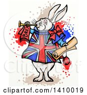 Poster, Art Print Of Doodled White Herald Rabbit Holding A Scroll And Blowing A Trumpet Wearing A British Brexit Outfit